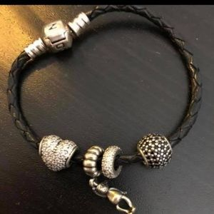 Pandora black braided leather bracelet with charms